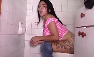 Tattooed Thai girl pooping
