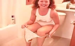 Petite German girl pooping